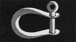 Drawing of a metal shackle.