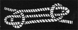 Drawing of a rope tied into a sheepshank knot.