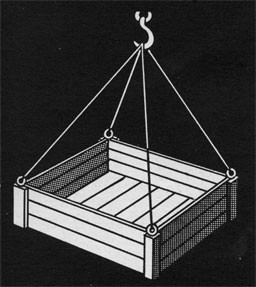 Drawing of a box suspended from the four corners to a hook.