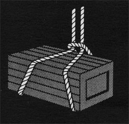 Drawing of a crate in a rope sling.