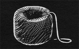 Drawing of a roll of small cordage.