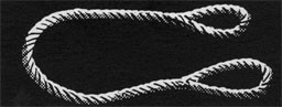Drawing of a length of rope with eye splices at each end.