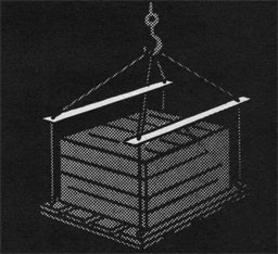 Drawing of a crate in a sling with spreaders.