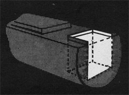 Drawing of an open hatch and the space beneath highlighted.
