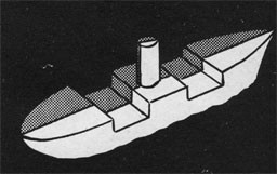 Silhouette of a ship with the starboard side highlighted