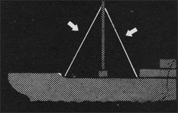 Drawing of a ship and the mast being raised into place.