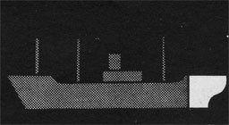 Silhouette of a ship with the stern area highlighted.