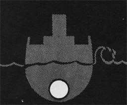 Drawing of a ship with a white circle below the waterline.