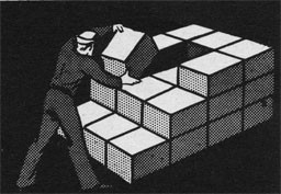 Drawing of a man removing 1 box from the step formation stowing.