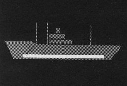 Silhouette of ship showing the bunker.