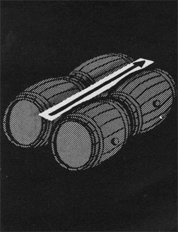 Drawing of four barrels and an arrow showing the cantline.