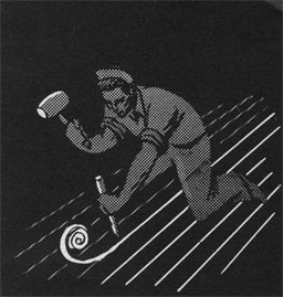 Drawing of a man with a mallet caulking.