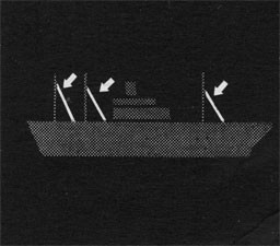 Silhouette of ship with arrows indicating backstays.