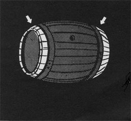 Drawing of a barrel with arrows pointing at the chimes.