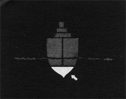 Silhouette of ship with arrow indicating ballast area.
