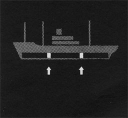 Silhouette of ship with arrows pointing to the coffer dam space.
