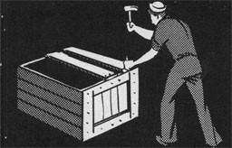 Drawing of a man with a hammer repairing a crate.