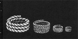 Drawing of 4 rools of varying sizes of rope.