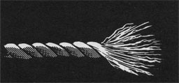 Drawing of the frayed end of a rope.