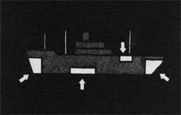 Silhouette of ship with arrows indicating ballast tanks.