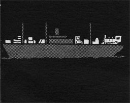 Silhouette of a ship with cargo on the deck.