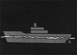 Silhouette of a ship witha wavy line indicating water line.