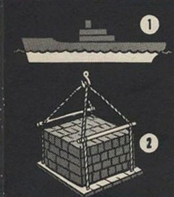 Two drawings - one showing the depth of a vessel below the waterline, the other a sling load of cargo.