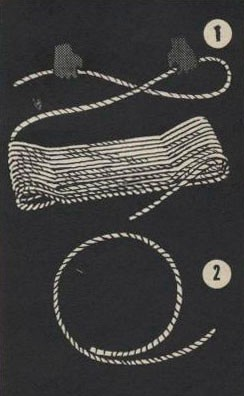Drawing of two hands laying rope down and a piece of rope in a circle.