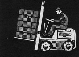 Drawing of a man driving a fork truck.
