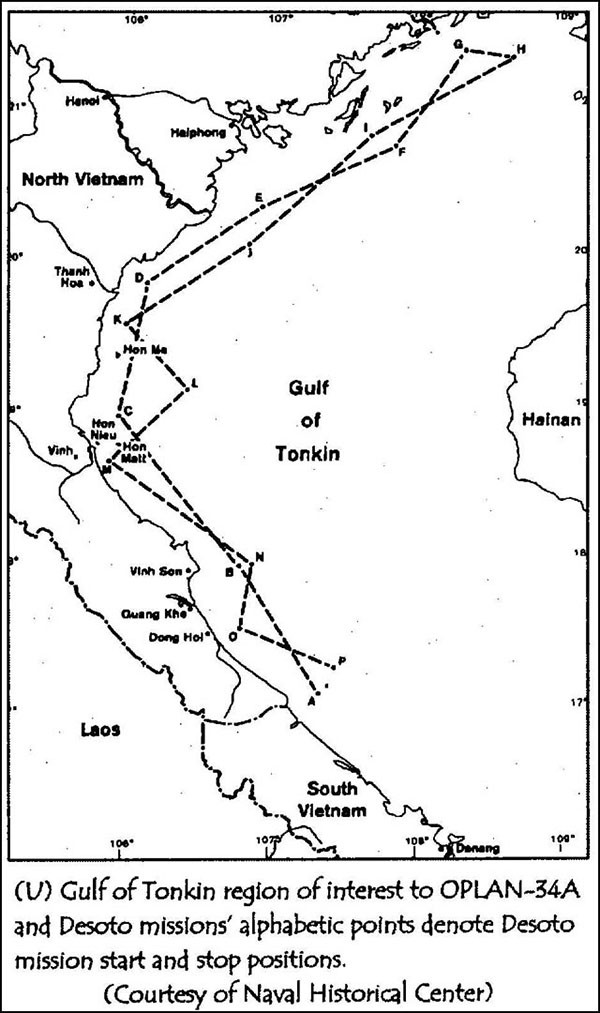 Gulf of Tonkin region of interest to OPLAN-34A and Desoto missions' alphabetic points denote Desoto mission start and stop positions.