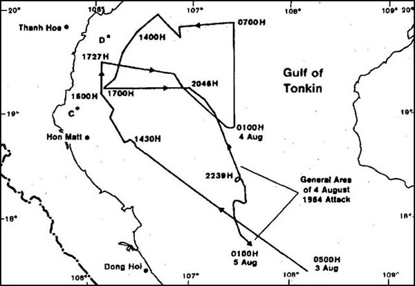 Gulf of Tonkin track, 3-5 August 1964