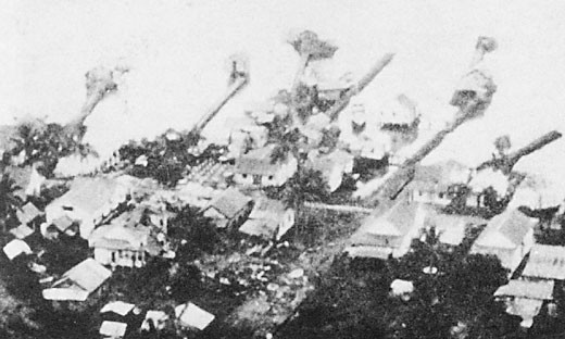 Image of 'Tulagi docks before bombardment.'