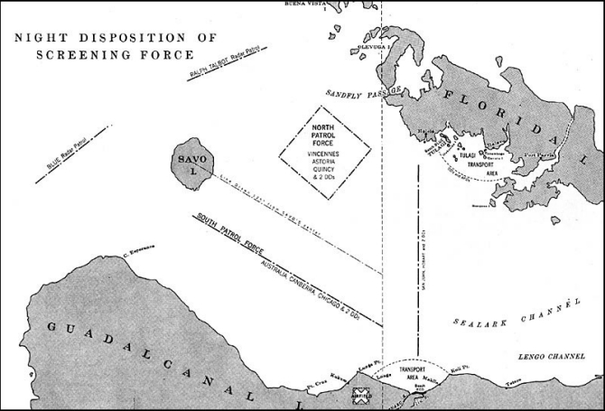 Image of map - 'Night Disposition of Screening Force.'