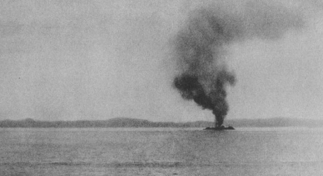 Image of 'The George F. Elliott, after Japanese plane had crashed into her, 8 August.'