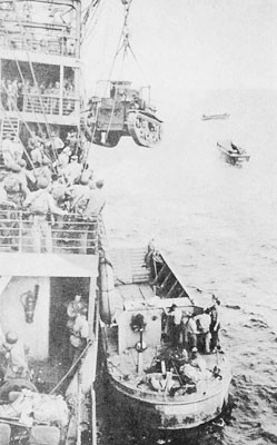 Unloading tank for Guadalcanal.