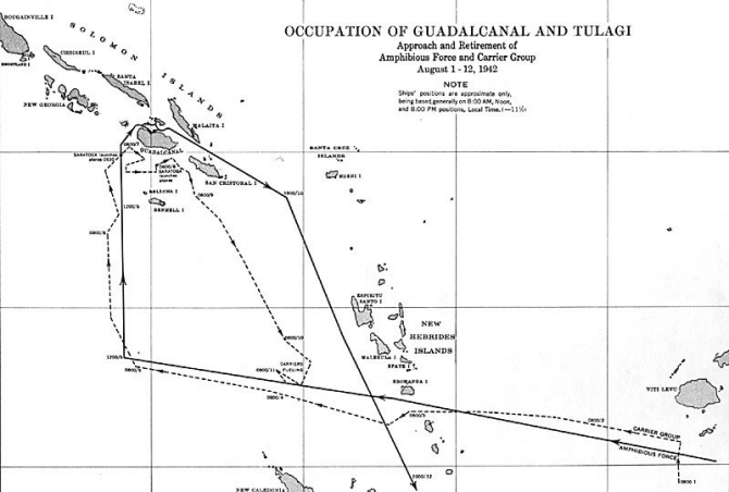 Image of chart - 'Occupation of Guadalcanal and Tulagi.' Approach and Retirement of Amphibious Force and Carrier Group, August 1-12, 1942.