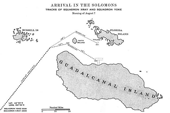 Image of chart - 'Arrival in the Solomons.' Track of Squadron XRAY and Squadron YOKE, morning of August 7.