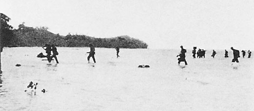 Image of 'Reinforcements wading ashore at Beach Blue.'