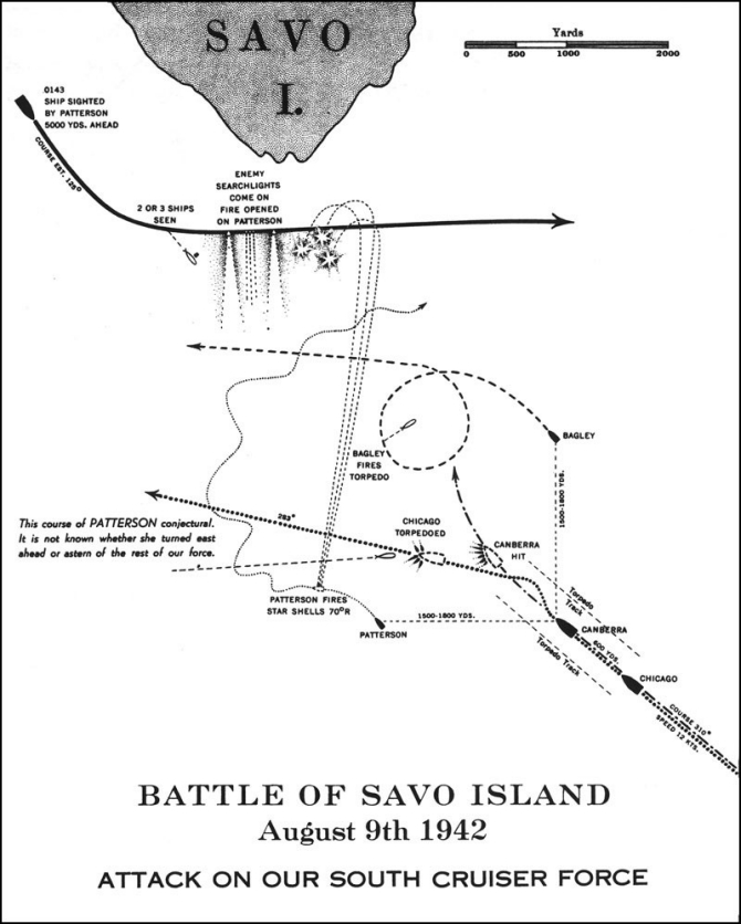 Image of chart - Battle of Savo Island, August 9th 1942, Attack on our south cruiser force. Shows the conjectural course of Patterson. It is not known whether she turned east ahead or astern of the rest of our force.