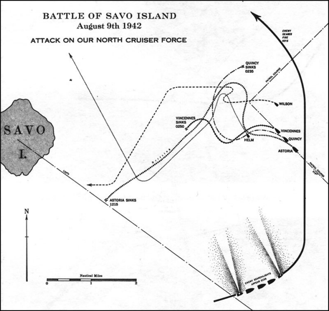 Image of chart - Battle of Savo Island, August 9th 1942, Attack on our north cruiser force.' Shows the course of our north cruiser force.