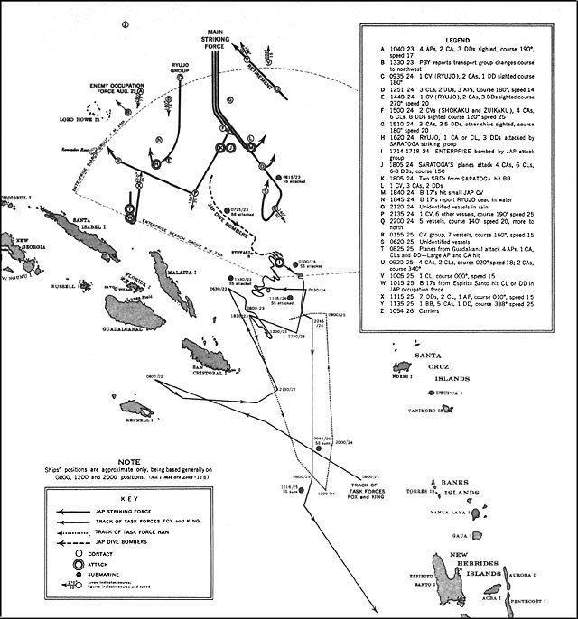 Image of chart - The Battle of the Eastern Solomons, August 23-25, 1942, showing approximate ships' positions, being based generally on 0800, 1200 and 2000 positions.