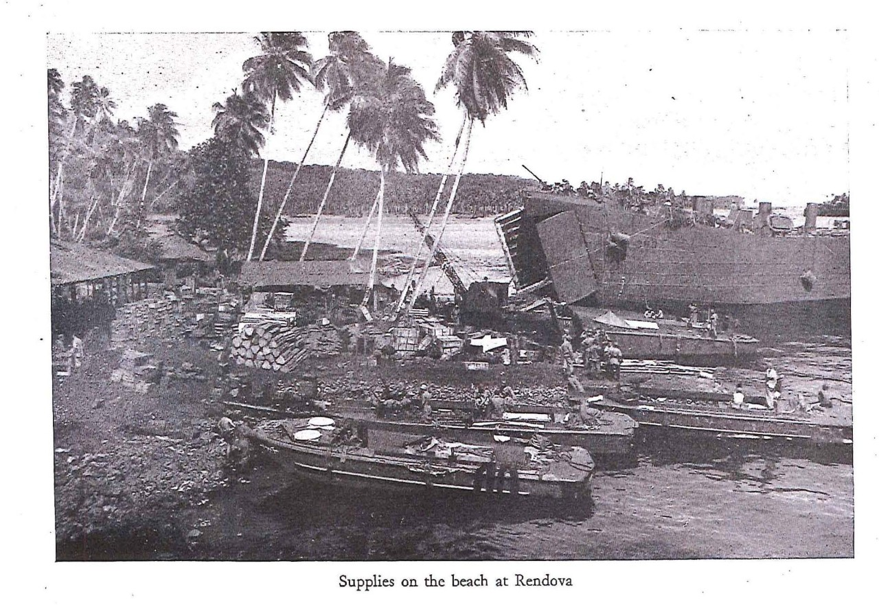 Supplies on the beach at Rendova