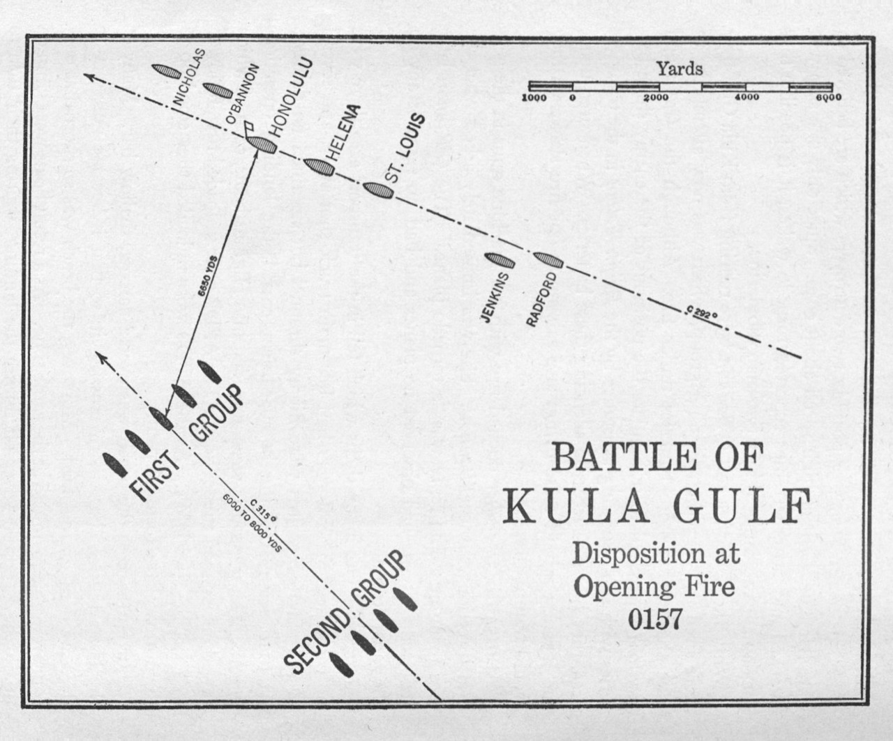 Battle of Kula Gulf Disposition at Opening Fire 0157