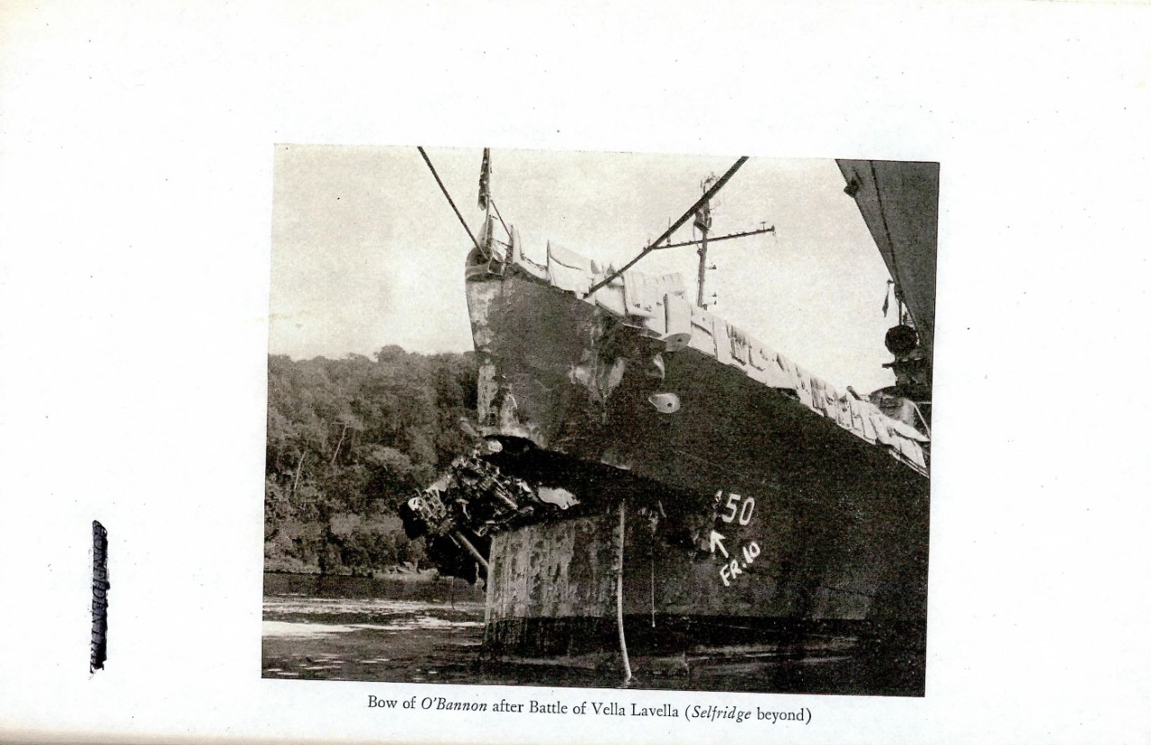 Bow of O'Bannon after Battle of Vella Lavella