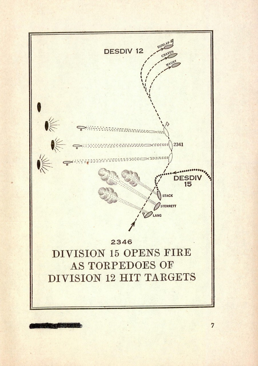 Division 15 opens fire as torpedoes of Divison 12 hit targets