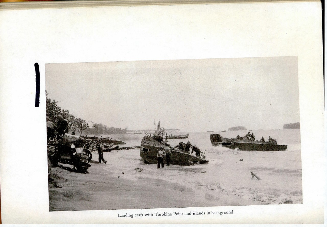 Landing craft with Torokina Point and islands in background