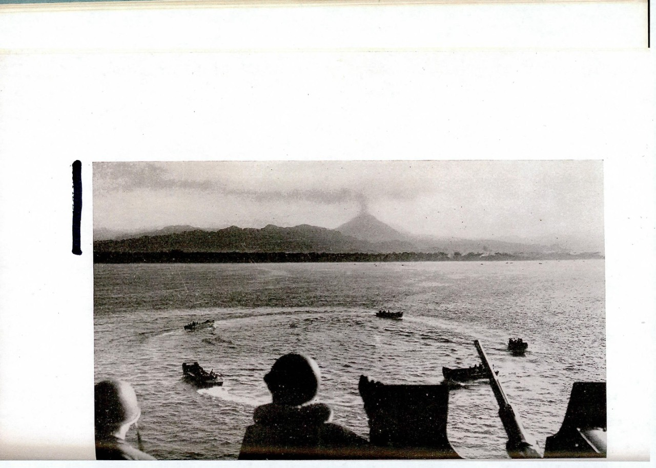 Landing craft circle before starting for Bougainville beach