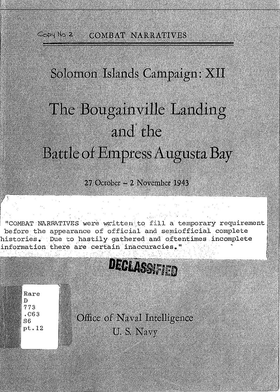 Solomon Islands Campaign Xii The Bougainville Landing And The
