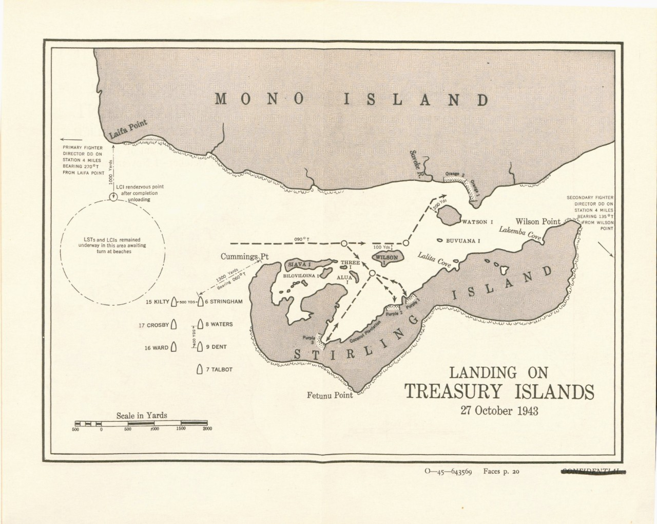 Map of Landing on Treasury Island 27 October 1943