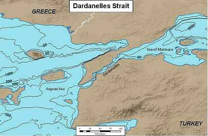 Figure 2. Dardanelles Strait, with bathymetry contours (in meters)